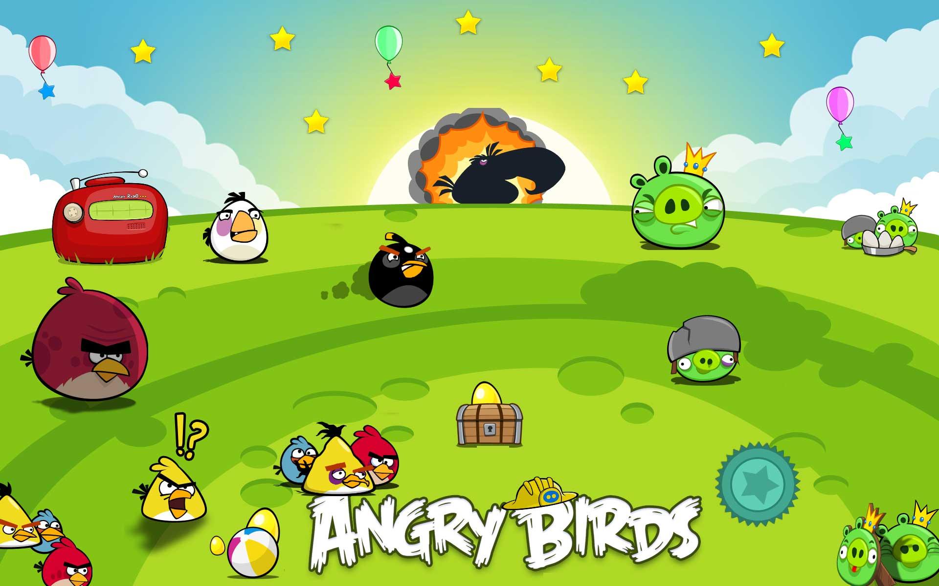 Angry Birds csirkék a mezőn háttérkép